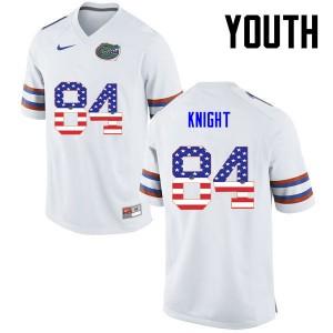 Youth Florida Gators #84 Camrin Knight College Football USA Flag Fashion White 967702-446