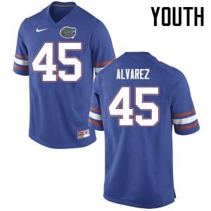 Youth Florida Gators #45 Carlos Alvarez College Football Jerseys Blue 165584-223