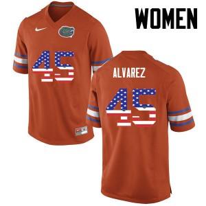 Women Florida Gators #45 Carlos Alvarez College Football USA Flag Fashion Orange 539811-823