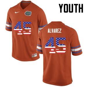 Youth Florida Gators #45 Carlos Alvarez College Football USA Flag Fashion Orange 290674-450