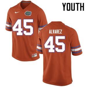 Youth Florida Gators #45 Carlos Alvarez College Football Jerseys Orange 216070-401