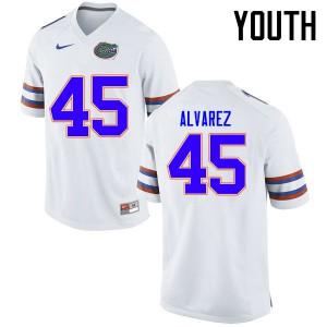 Youth Florida Gators #45 Carlos Alvarez College Football Jerseys White 364697-160