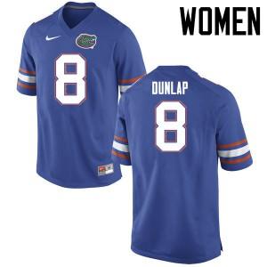 Women Florida Gators #8 Carlos Dunlap College Football Jerseys Blue 274550-684