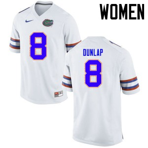 Women Florida Gators #8 Carlos Dunlap College Football Jerseys White 885640-367