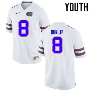Youth Florida Gators #8 Carlos Dunlap College Football Jerseys White 188630-550