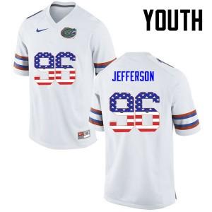Youth Florida Gators #96 Cece Jefferson College Football USA Flag Fashion White 219870-219