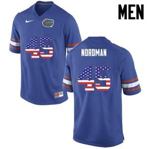 Men Florida Gators #45 Charles Nordman College Football USA Flag Fashion Blue 482117-921