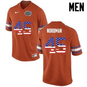 Men Florida Gators #45 Charles Nordman College Football USA Flag Fashion Orange 973524-297