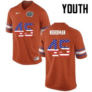 Youth Florida Gators #45 Charles Nordman College Football USA Flag Fashion Orange 448669-265