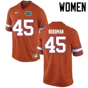 Women Florida Gators #45 Charles Nordman College Football Jerseys Orange 188511-975