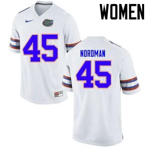 Women Florida Gators #45 Charles Nordman College Football Jerseys White 822864-532