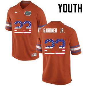 Youth Florida Gators #23 Chauncey Gardner Jr. College Football USA Flag Fashion Orange 251869-546