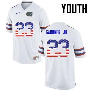 Youth Florida Gators #23 Chauncey Gardner Jr. College Football USA Flag Fashion White 198799-518