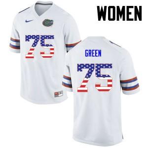 Women Florida Gators #75 Chaz Green College Football USA Flag Fashion White 992565-520