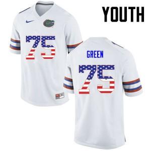 Youth Florida Gators #75 Chaz Green College Football USA Flag Fashion White 682533-995