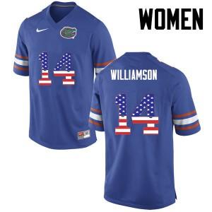 Women Florida Gators #14 Chris Williamson College Football USA Flag Fashion Blue 966562-901
