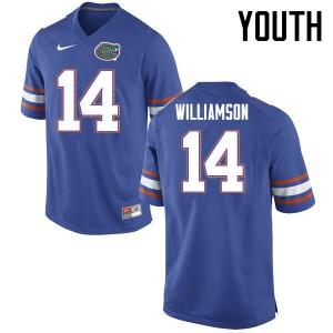Youth Florida Gators #14 Chris Williamson College Football Jerseys Blue 300769-229