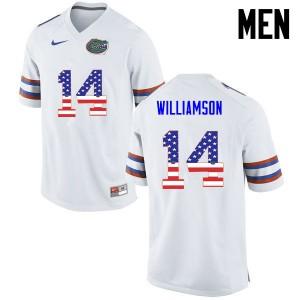 Men Florida Gators #14 Chris Williamson College Football USA Flag Fashion White 329370-270
