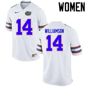 Women Florida Gators #14 Chris Williamson College Football Jerseys White 406637-912