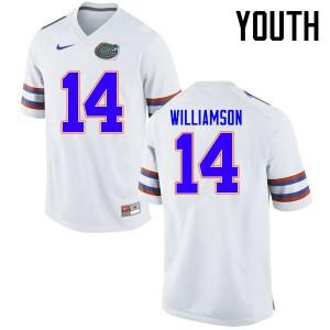 Youth Florida Gators #14 Chris Williamson College Football Jerseys White 691963-800