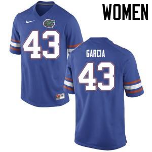 Women Florida Gators #43 Cristian Garcia College Football Jerseys Blue 870257-685