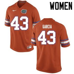 Women Florida Gators #43 Cristian Garcia College Football Jerseys Orange 449476-459