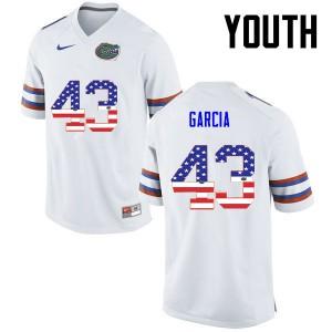 Youth Florida Gators #43 Cristian Garcia College Football USA Flag Fashion White 640270-579