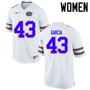 Women Florida Gators #43 Cristian Garcia College Football Jerseys White 401349-308
