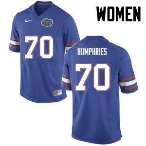 Women Florida Gators #70 D.J. Humphries College Football Blue 220209-356