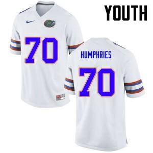 Youth Florida Gators #70 D.J. Humphries College Football White 163486-143