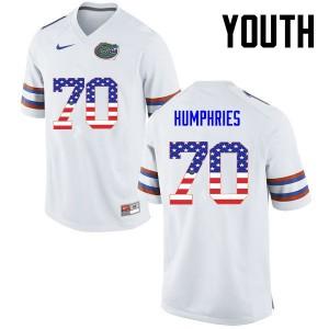Youth Florida Gators #70 D.J. Humphries College Football USA Flag Fashion White 125998-879