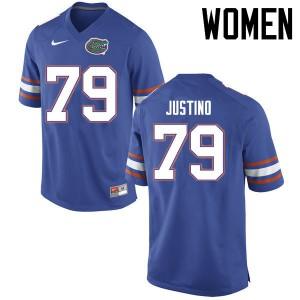 Women Florida Gators #79 Daniel Justino College Football Jerseys Blue 923758-644