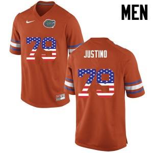 Men Florida Gators #79 Daniel Justino College Football USA Flag Fashion Orange 951301-868