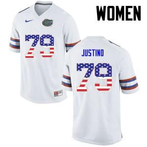 Women Florida Gators #79 Daniel Justino College Football USA Flag Fashion White 895218-694