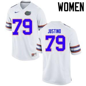 Women Florida Gators #79 Daniel Justino College Football Jerseys White 337930-616