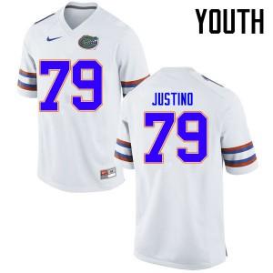 Youth Florida Gators #79 Daniel Justino College Football Jerseys White 940594-511