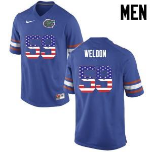 Men Florida Gators #59 Danny Weldon College Football USA Flag Fashion Blue 945131-356