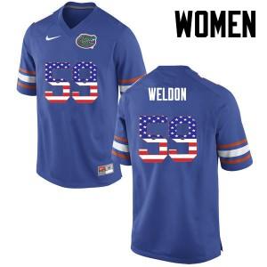 Women Florida Gators #59 Danny Weldon College Football USA Flag Fashion Blue 149333-817
