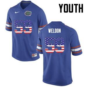 Youth Florida Gators #59 Danny Weldon College Football USA Flag Fashion Blue 580626-553