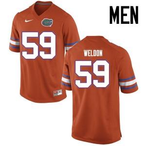 Men Florida Gators #59 Danny Weldon College Football Jerseys Orange 850634-676