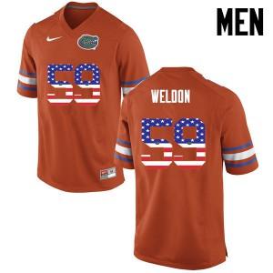 Men Florida Gators #59 Danny Weldon College Football USA Flag Fashion Orange 505426-704