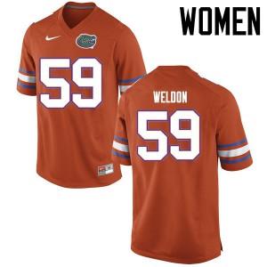 Women Florida Gators #59 Danny Weldon College Football Jerseys Orange 616276-707