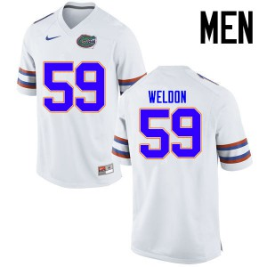 Men Florida Gators #59 Danny Weldon College Football Jerseys White 169222-430