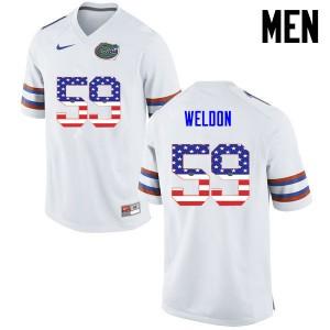 Men Florida Gators #59 Danny Weldon College Football USA Flag Fashion White 621726-929