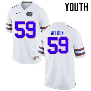 Youth Florida Gators #59 Danny Weldon College Football Jerseys White 271402-661