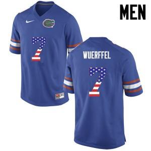 Men Florida Gators #7 Danny Wuerffel College Football USA Flag Fashion Blue 564491-668