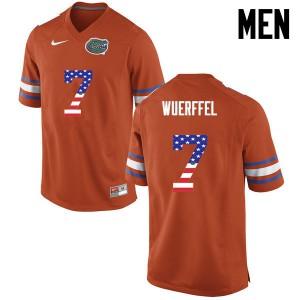 Men Florida Gators #7 Danny Wuerffel College Football USA Flag Fashion Orange 395669-195