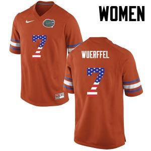 Women Florida Gators #7 Danny Wuerffel College Football USA Flag Fashion Orange 414538-363