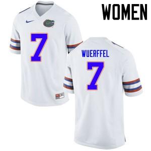 Women Florida Gators #7 Danny Wuerffel College Football Jerseys White 217934-862