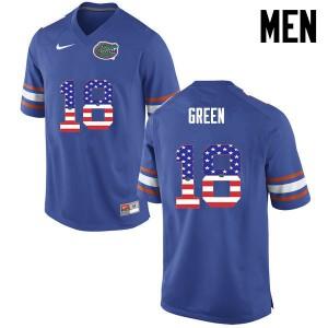 Men Florida Gators #18 Daquon Green College Football USA Flag Fashion Blue 558449-140